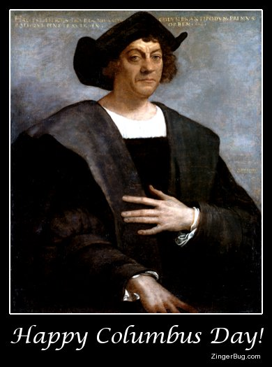 Click to get the codes for this image. Columbus Day Portrait, Columbus Day Free Image, Glitter Graphic, Greeting or Meme for Facebook, Twitter or any forum or blog.