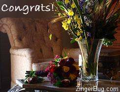 Click to get the codes for this image. Congrats Flowers, Congratulations, Flowers Free Image, Glitter Graphic, Greeting or Meme for Facebook, Twitter or any blog.