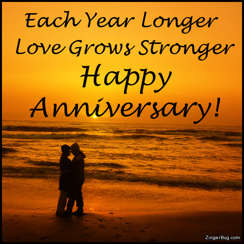 Click to get the codes for this image. This anniversary greeting features a silhouetted couple on a beach at sunset. The comment reads: Each Year Longer Love Grows Stronger Happy Anniversary!