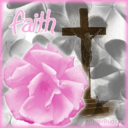 Click to get the codes for this image. Faith Pink Rose with cross, Flowers, Religious  Christian, Faith and Spirituality Free Image, Glitter Graphic, Greeting or Meme for Facebook, Twitter or any blog.