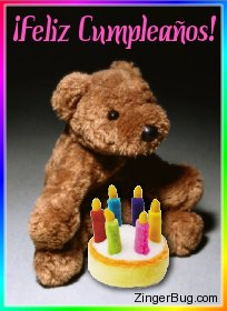Click to get the codes for this image. Feliz Cumplea�os Teddy Bear, Feliz Cumpleanos Spanish, Happy Birthday, Spanish Free Image, Glitter Graphic, Greeting or Meme for Facebook, Twitter or any forum or blog.