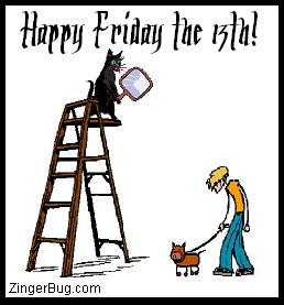 Click to get the codes for this image. This funny cartoon plays on all of our unlucky superstitions. It shows a black cat perched at the top of a ladder holding a mirror, poised to drop in on the unsuspecting fellow walking his dog beneath. The comment reads: Happy Friday the 13th!