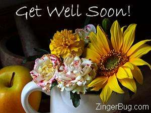 Click to get the codes for this image. Get well bouquet photo, Get Well Soon, Flowers Free Image, Glitter Graphic, Greeting or Meme for Facebook, Twitter or any blog.