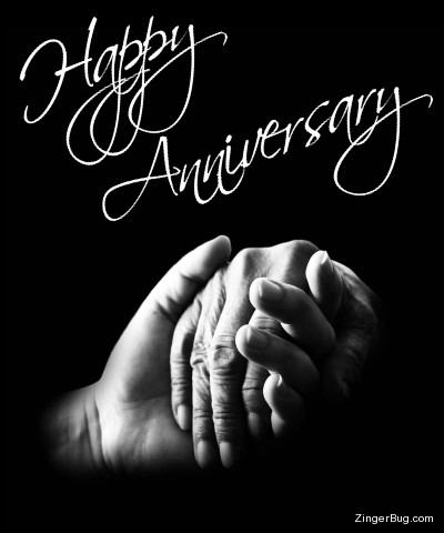 Click to get the codes for this image. This beautiful graphic features a black and white photograph of a hand holding another person't hand. The comment reads Happy Anniversary