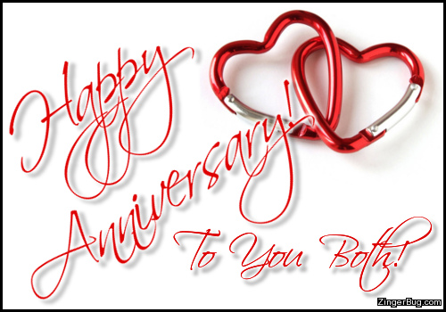 Click to get the codes for this image. Happy Anniversary To You Both Linked Hearts, Happy Anniversary Glitter Graphic, Comment, Meme, GIF or Greeting