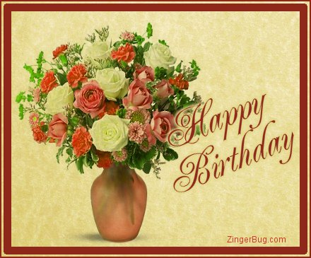 Happy Birthday Greetings, comments and glitter graphics featuring vintage images.