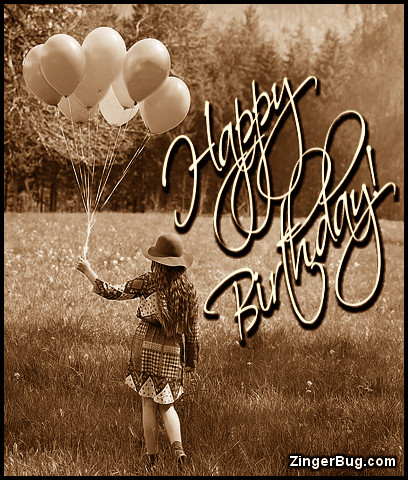 Click to get the codes for this image. Happy Birthday Sepia Tone Girl With Balloons, Happy Birthday, Happy Birthday, Birthday Balloons, Vintage Birthday Graphics Free Image, Glitter Graphic, Greeting or Meme for Facebook, Twitter or any forum or blog.