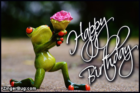 Click to get the codes for this image. Happy Birthday Silly Frog With Bouquet, Happy Birthday, Happy Birthday, Birthday Animals Free Image, Glitter Graphic, Greeting or Meme for Facebook, Twitter or any forum or blog.