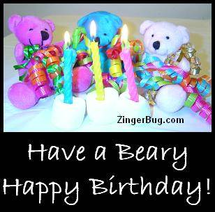 Click to get the codes for this image. Have A Beary Happy Birthday Teddy Bears, Birthday Teddy Bears, Teddy Bears, Happy Birthday Free Image, Glitter Graphic, Greeting or Meme for Facebook, Twitter or any forum or blog.