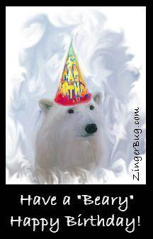 Click to get the codes for this image. Have A Beary Happy Birthday Polar Bear, Birthday Animals, Animals  Bears, Happy Birthday Free Image, Glitter Graphic, Greeting or Meme for Facebook, Twitter or any forum or blog.