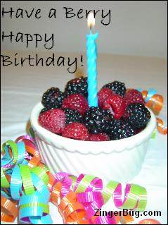 Click to get the codes for this image. Have A Berry Happy Birthday, Birthday Food not cake, Happy Birthday Free Image, Glitter Graphic, Greeting or Meme for Facebook, Twitter or any forum or blog.