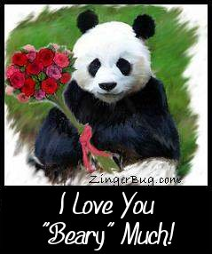 "Click to get the codes for this image. This cute comment shows a painting of a panda bear holding a bouquet of flowers. The comment reads: I love you ""Beary"" Much!"