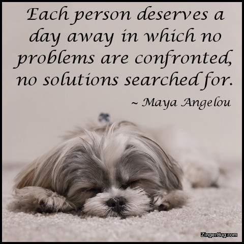 Click to get the codes for this image. This graphic features a photo of a small dog soundly sleeping. The Quote is by Maya Angelou and reads: Each person deserves a day away in which no problems are confronted, no solutions searched for.