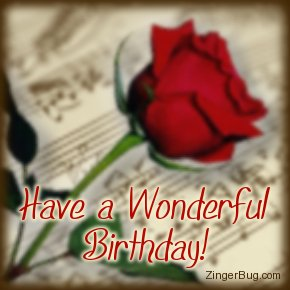 Click to get the codes for this image. Have a Wonderful Birthday Music Rose, Birthday Flowers, Music Comments, Flowers, Happy Birthday Free Image, Glitter Graphic, Greeting or Meme for Facebook, Twitter or any forum or blog.