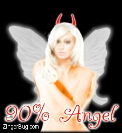 Click to get the codes for this image. Picture of a sexy angel with horns on her head. Comment reads: 90% Angel