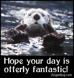 Click to get the codes for this image. This cute comment shows a funny sea otter with his paws sticking out of the water with both thumbs up. The comment reads: Hope your day is otterly fantastic!