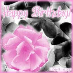 Click to get the codes for this image. Pink Birthday Rose Graphic, Birthday Flowers, Flowers, Happy Birthday Free Image, Glitter Graphic, Greeting or Meme for Facebook, Twitter or any forum or blog.