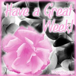 Click to get the codes for this image. Pink Rose Great Week, Have A Great Week, Flowers Free Image, Glitter Graphic, Greeting or Meme for Facebook, Twitter or any blog.