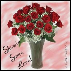 Click to get the codes for this image. Showin Love Roses, Showin Some Love, Flowers Free Image, Glitter Graphic, Greeting or Meme for Facebook, Twitter or any blog.