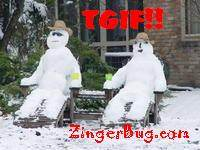 Click to get the codes for this image. TGIF Snowmen, Happy Friday, TGIF Free Image, Glitter Graphic, Greeting or Meme for Facebook, Twitter or any forum or blog.