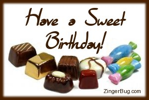 Click to get the codes for this image. Have a Sweet Birthday, Birthday Food not cake, Happy Birthday Free Image, Glitter Graphic, Greeting or Meme for Facebook, Twitter or any forum or blog.