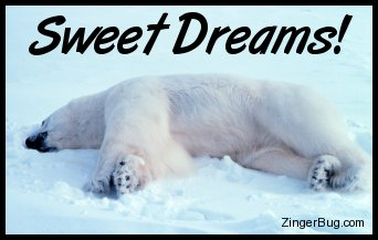 Click to get the codes for this image. Sweet Dreams Polar Bear, Goodnight, Dream, Animals  Bears Free Image, Glitter Graphic, Greeting or Meme for Facebook, Twitter or any forum or blog.