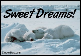Click to get the codes for this image. Sweet Dreams Polar Bear Family, Goodnight, Dream, Animals  Bears Free Image, Glitter Graphic, Greeting or Meme for Facebook, Twitter or any forum or blog.