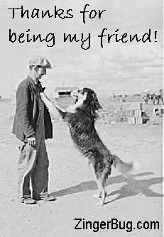 Click to get the codes for this image. Thanks For Bieng My Friend Dog Buddy, Thanks For The Add, Animals  Dogs, Friendship Free Image, Glitter Graphic, Greeting or Meme for Facebook, Twitter or any forum or blog.