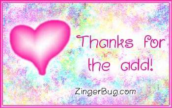 Click to get the codes for this image. Thanks For The Add Pink Plaque, Thanks For The Add, Hearts Free Image, Glitter Graphic, Greeting or Meme for Facebook, Twitter or any blog.
