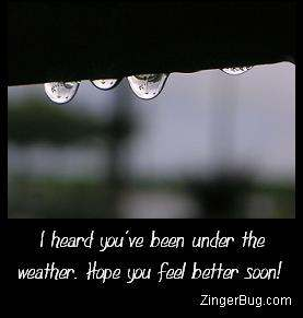 Click to get the codes for this image. Close up photo of raindrops. Comment reads: I Heard you've been under the weather. Hope you feel better soon!