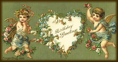 Click to get the codes for this image. Victorian Birthday Angels, Birthday Hearts, Birthday Angels  Fairies, Vintage Birthday Graphics, Angels Fairies and Mermaids, Happy Birthday Free Image, Glitter Graphic, Greeting or Meme for Facebook, Twitter or any forum or blog.
