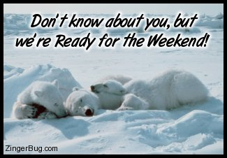 Click to get the codes for this image. This cute photo shows a family of polar bears crashed out together for a big nap. The caption reads: Don't know about you, but we're ready for the weekend!