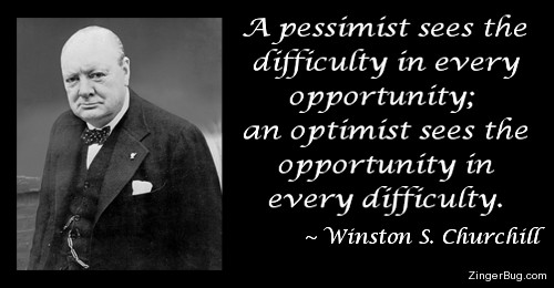 Click to get the codes for this image. This graphic features a photograph of Winston Churchill with a quote that reads: A pessimist sees the difficulty in every opportunity; an optimist sees the opportunity in every difficulty.