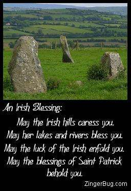 Click to get the codes for this image. Photo of an Irish pastoral scene, with this comment: An Irish Blessing: May the irish hills caress you. May her lakes and rivers bless you. May the luck of the Irish enfold you. May the blessings of Saint Patrick behold you.