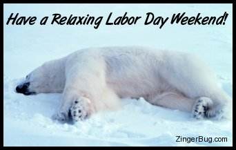 Click to get the codes for this image. Cute photo of a polar bear asleep in the snow. Comment reads: Have a Relaxing Labor Day Weekend!