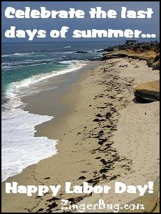 Click to get the codes for this image. This photo shows a deserted beach. The comment reads: Celebrate the last days of summer... Happy Labor Day!