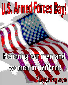 Click to get the codes for this image. Posterized photograph of an American flag with the comment: U.S. Armed Forces Day! Honoring our man and women in uniform.