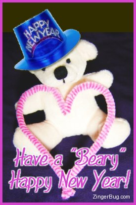 Click to get the codes for this image. Cute photograph of a teddy bear holding a pink heart and wearing a Happy New Year Hat. The comment reads: Have a Beary Happy New Year!