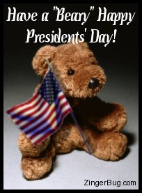 Click to get the codes for this image. Cute photograph of a teddy bear holding an American flag. The comment reads: Have a Beary Happy Presidents' Day!