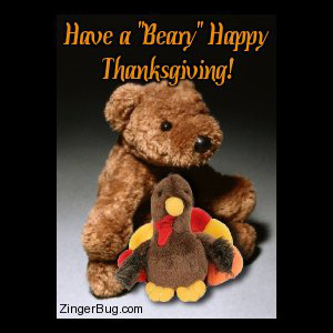Click to get the codes for this image. Cute photograph of a stuffed teddy bear holding a stuffed turkey. The comment reads: Have a Beary Happy Thanksgiving!