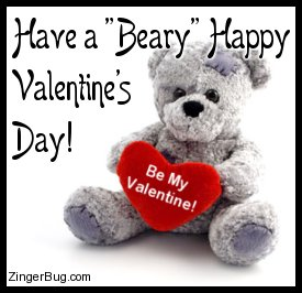 Click to get the codes for this image. Cute photo of a teddy bear holding a red heart that says: Be My Valentine!. The comment reads: Have a Beary Happy Valentine's Day!