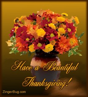 Click to get the codes for this image. This graphic features a water color painting of a bouquet of fall flowers. The comment reads: Have a Beautiful Thanksgiving!