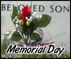 Click to get the codes for this image. Photograph of a single red rose in front of the headstone of a fallen soldier. The part of the headstone that we can see reads: Beloved Son. The comment reads: Memorial Day