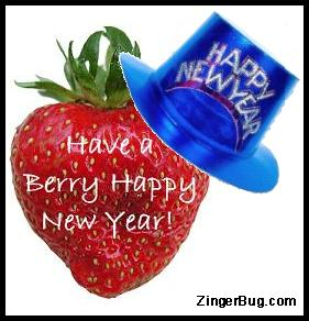 Click to get the codes for this image. Strawberry wearing a Happy New Year Hat. Comment reads: Have a Berry Happy New Year!