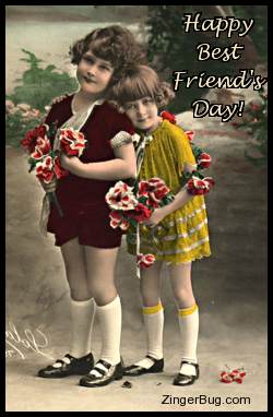 Click to get the codes for this image. Happy Best Friend's Day Vintage Girls, Best Friends Day Free Image, Glitter Graphic, Greeting or Meme for Facebook, Twitter or any forum or blog.