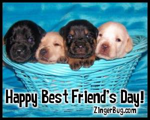Click to get the codes for this image. Best Friends Day Puppies In Basket, Best Friends Day Free Image, Glitter Graphic, Greeting or Meme for Facebook, Twitter or any forum or blog.