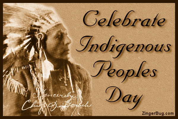 Click to get the codes for this image. Celebrate Indigenous Peoples Day, Columbus Day Free Image, Glitter Graphic, Greeting or Meme for Facebook, Twitter or any forum or blog.