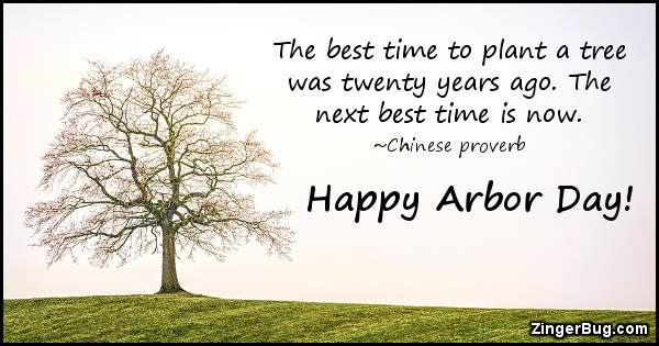 Click to get the codes for this image. The best time to plant a tree was twenty years ago. The next best time is now. Happy Arbor Day!