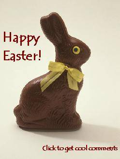 Click to get the codes for this image. Happy Easter Chocolate Bunny, Easter Free Image, Glitter Graphic, Greeting or Meme for Facebook, Twitter or any forum or blog.