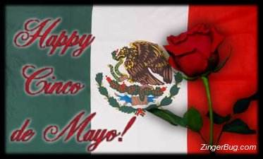 Click to get the codes for this image. Cinco De Mayo Mexican Flag With Rose, Cinco de Mayo Free Image, Glitter Graphic, Greeting or Meme for Facebook, Twitter or any forum or blog.